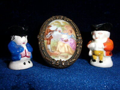 """Miniature """"Limoges"""" Porcelain Picture In Frame + 2 Toby Jugs."""