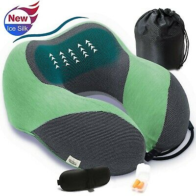Travel Neck Pillow for Airplane Upgraded Ice Silk Nap Pillow Memory Foam ... New