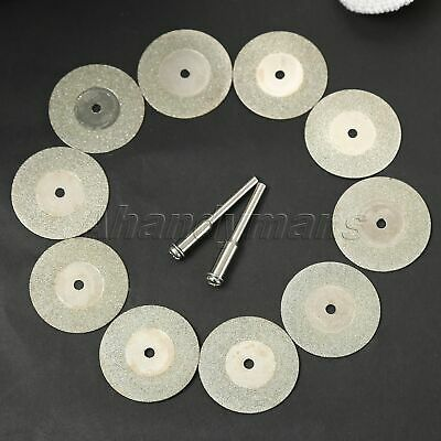 10pcs 30mm Diamond Cutting Discs & 2pc Arbor For Grinder Drill Power Rotary Tool