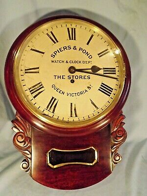 "19c Mahogany Chain Fusee ""Spiers & Pond"" London Clock Dept."
