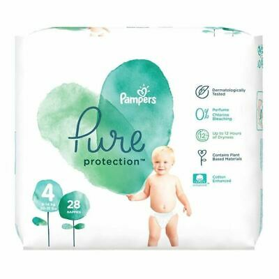 Pampers Pure Protection Size 4 Nappies 28s New