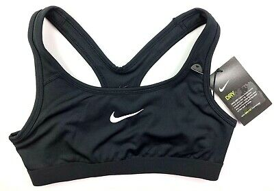 GIRLS Nike SPORTS BRA Medium Support  L Ages 12 - 13 & XL 13 - 15 BLACK BNWT