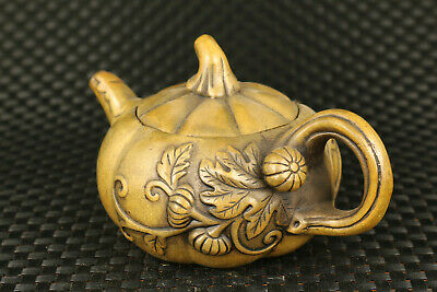 china Fortune old bronze flower statue collect tea pot tea pet table deco gift