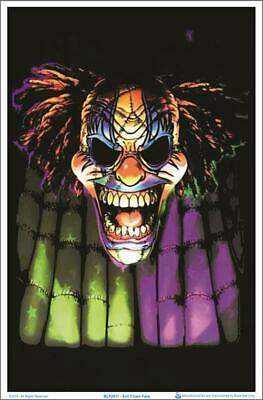 EVIL CLOWN FACE - Blacklight -  Poster 23 in X 35 in - POSTER