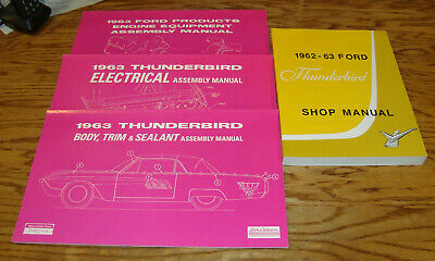 1963 Ford Thunderbird Shop & Assembly Manual Lot of 4 63 Engine Body Electrical