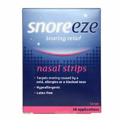 Snoreeze Snoring Relief Nasal Strips Large 10 Strips New