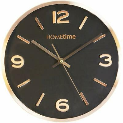 Hometime Copper Finish Aluminium Wall Clock 30Cm Round Deep Dish Black Dial