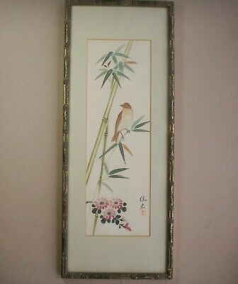 Old Vintage Japanese Silk Watercolour  Painting Bird Blossom Gold Bamboo Frame