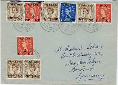 Qatar 1959 multi franked cover to Saar, Germany