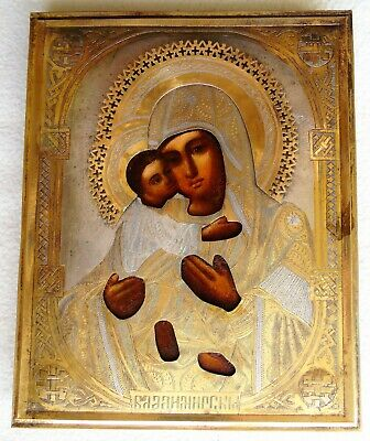 "Antique Russian icon of the Virgin ""Vladimirskaya"". 19th century. 22,5х18х2 cm."