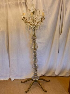 Late 19th Century crystal and bronze floor lamp 72¾""