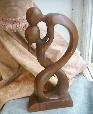 Old Vintage Mid Century Modern Carved Wooden Walnut Sculpture Lovers Mid Century