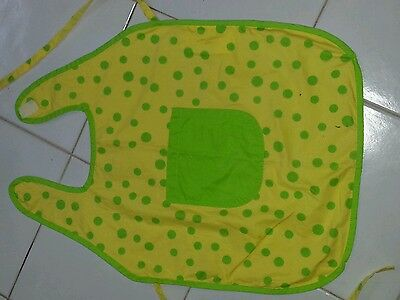 Girls  Child APRON Yellow with Green Polka Dots 1 Pocket Kitchen / Cooking