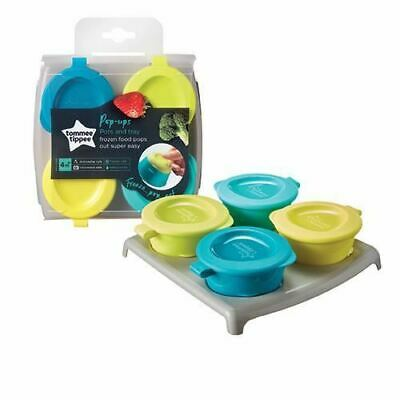 Tommee Tippee Weaning 4 Freezer Pots & Tray Blue & Green New