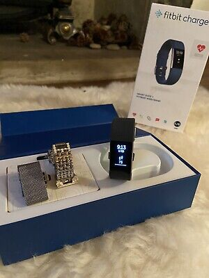 Fitbit Charge 2  Heart Rate Fitness Tracking Wristband - Blue + Two Spare Straps