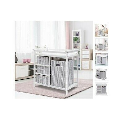 Infant Changing Table with 3 Basket Hamper Diaper Storage Baby Nursery Furniture