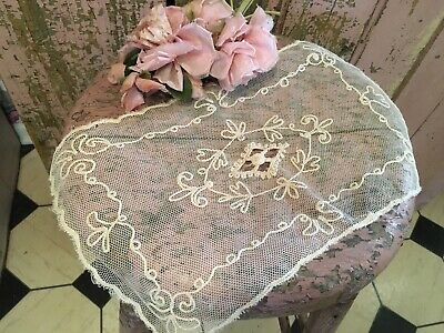 Lovely French Antique Tambour Lace Cotton Netting Table Runner #K10