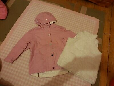 Age 4 Years Girls Joules Coat pink waterproof with removable Gillett