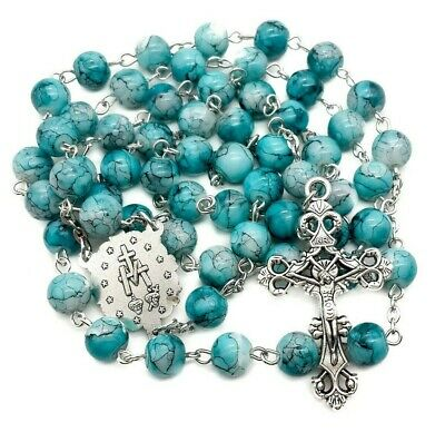 Catholic Turquoise Marble Glass Beads Rosary Necklace Miraculous Medal & Cross