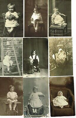 9 x ANTIQUE REAL PHOTO POSTCARDS - BABIES & TODDLERS Australia 1900s-20s