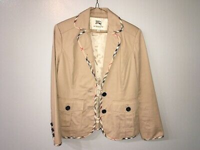 Ladies Burberry London Camel Nova Check lightly quilted jacket L made in London