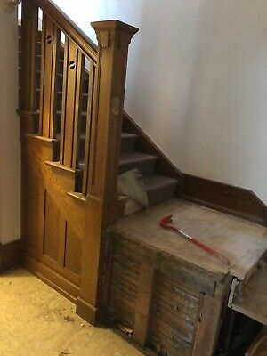 Antique MISSION OAK staircase architectural salvage baluster newel post railing