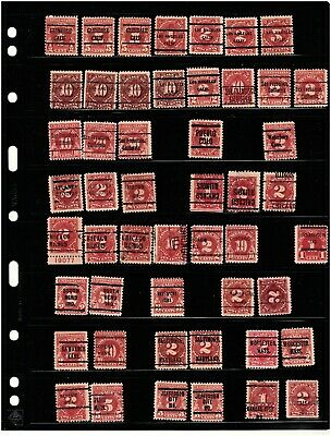 JimbosStamps, U.S.precancel accum.on 4 stk.pgs.,all early classice postage dues