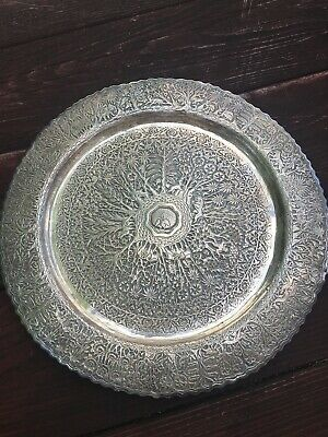 India Solid Silver Tray Raj Period 1850 1920 Extreme Repouse Very Rare