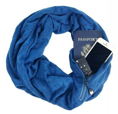 OSFA SHOLD IT Women/'s /'SHOLDIT/' CONVERTIBLE SHIMMER Blue SCARF WITH POCKET