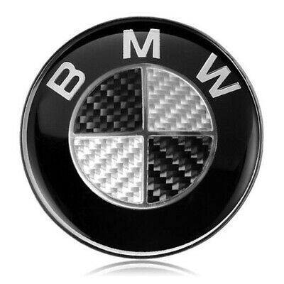 82MM BMW Black Carbon Emblem Badge Hood Logo Front Rear Bonnet Boot For BMW