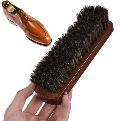 Large Horsehair Shoe Brush Polishing Brush Handle Leather Shoes Great Czx