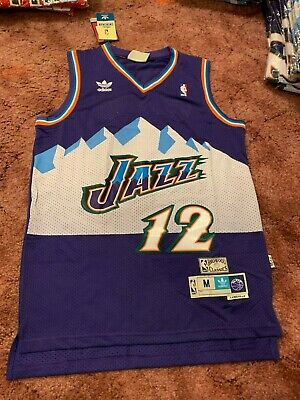 John Stockton Utah Jazz #12 Purple and Blue Mens Swingman Throwback Jersey
