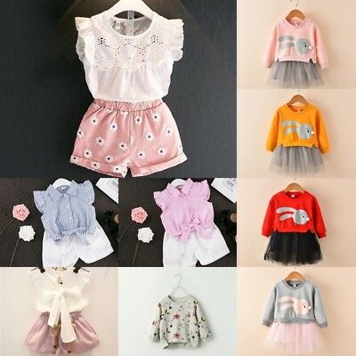 2Pcs Toddler Kid Baby Girl Dress Outfits Tops Sets Pricess Party Flowers Wedding