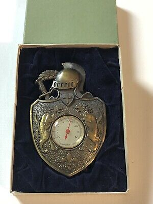 Vintage Medieval Knight Coat Of Arms Swords Shield Thermometer Celsius
