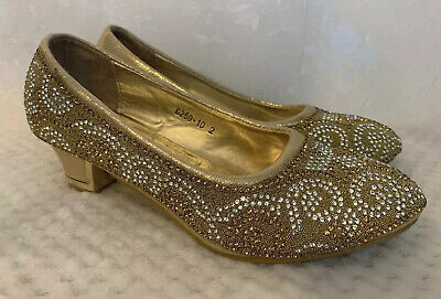 Girls Gold Sparkly Party Shoes Size 2