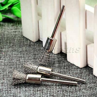 10Pcs 8mm Stainless Pen Wire Brushes Drill End 3mm Shank Grinder Rotary Tool