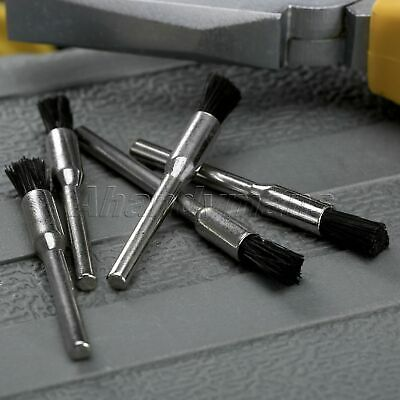 5Pcs Nylon Bristle Burr Pen Brushes Polishing Buffing Shank Grinder Power Tool