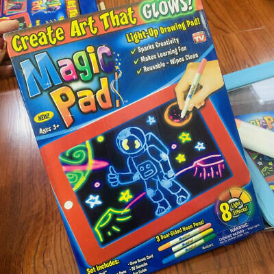 Magic Light Up Drawing Pad Creative Writing With Pens Christmas Gift Neon Screen