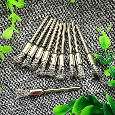 10Pcs Steel Wire Pen Brushes Drill End Polishing 3mm Shank Rotary Tool Wholesale