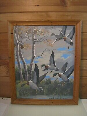 Large Vintage Paint By Number Painting - Ducks Flying  B1644