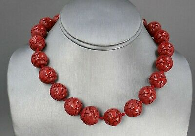 Fine Antique Chinese Carved Red Cinnabar Lacquer 16mm Bead Necklace