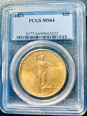 1924 $20 PCGS MS64 20 Dollar St Gaudens Gold Coin US Gold Coins Auctions Deals
