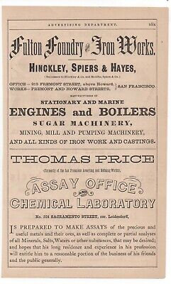 1880s Advertisement for Thomas Price Assay Office San Francisco CA