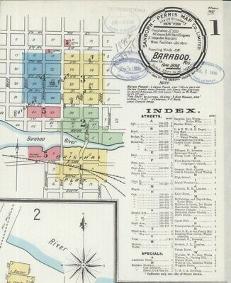 Baraboo,, Wisconsin~Sanborn Map© sheets in high resolution color~1898,1913 on CD