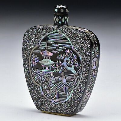 Signed Chinese Burgaunte Snuff Bottle with Mother of Peal Scenes