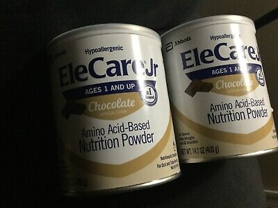 2 cans 14.1oz) EleCare JR CHOCOLATE Powder Formula hypoallergenic abbott