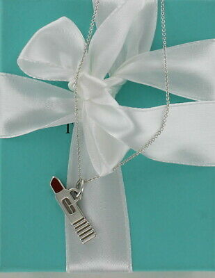 Tiffany & Co Sterling Silver Red Enamel Clinique Lipstick Necklace 18' Chain