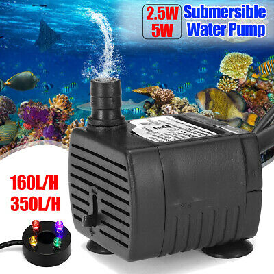 Ultra Quiet Submersible Water Pump Aquarium Fish Tank Pump w/ LED Light 2.