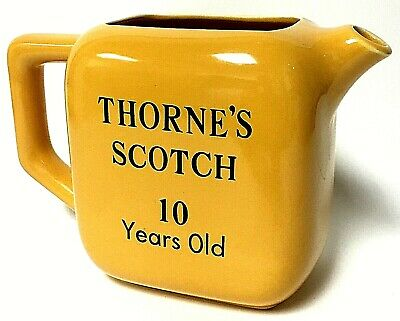 Vintage Thorne's Scotch Whiskey 10 Years Old Yellow Ceramic Bar Pitcher Jug