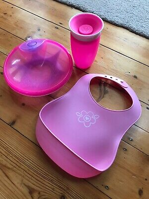 Baby Sippy Cup, Suction Plate, Catch Bib Pink